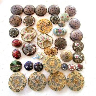 38 pcs ANTIQUE FRENCH VICTORIAN ENAMELED BUTTONS - Ornate - 19th Century