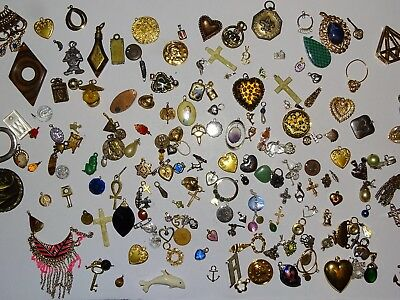 Huge Vintage Lot Of 190+ Charms And Pendants Floral Animals Pearl Style More