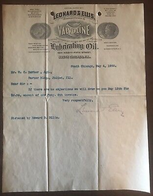1900 Valvoline Oil Leonard & Ellis Document Letter Letterhead South Chicago