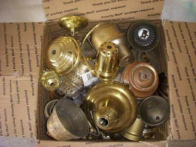 Huge Lot Of Vintage Lamp Parts For Steampunk Machine Age Industrial Lamps
