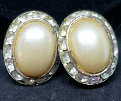 Stunning Vintage Silver Tone Rhinestone Accented Faux Pearl Screw Back Earrings