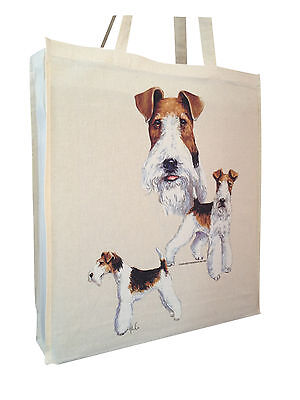 Wire Fox Terrier Cotton Shopping Bag Tote with Gusset for Xtra Space