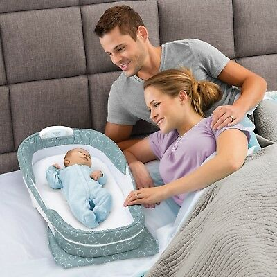 Baby Delight Snuggle Nest Surround XL Infant Sleeper - Sea Green Rings
