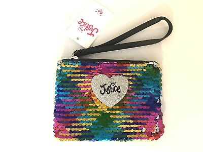 Justice Rainbow Flip Sequin Wristlet Zipper Pouch Bag Coin Purse New with Tags!
