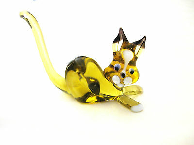 """Figurine  Cat   Glass Yellow  3""""long Funny Looking!"""