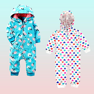 b29da01d45d New Carters Baby Girls Floral or Heart Print Hooded French Terry Romper  Jumpsuit