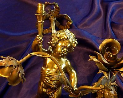 French Antique Gilded Bronze Chandelier Angel/ Cherub With Rose Bouquet Torch