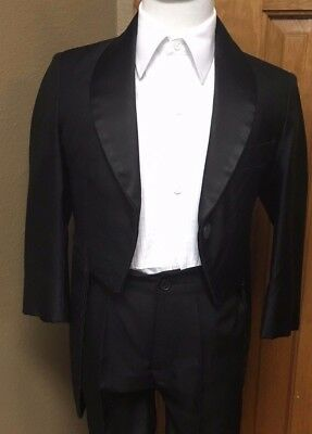 6 Boys Black Tail Coat Tuxedo Formal Tailcoat Party Dance Jacket Cosplay 711BN