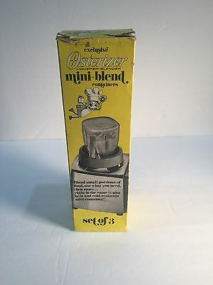 VTG Set of 3 OSTERIZER  Blender Mini-Blend CONTAINERS UNUSED 1/2 Pint With Box