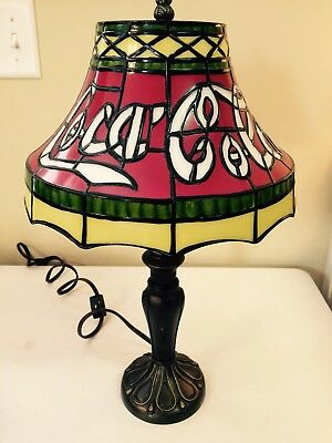 Vintage COCA COLA Tiffany Style Plastic Stained Glass Shade, Bronze Table Lamp