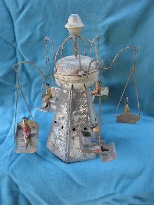 Vintage Gunthermann Early 1900's Tin Wind-Up Carousel w/ People Germany Working
