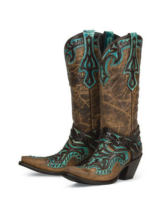 New leather BROWN w/ inlays+overlays womens ladies cowboy boots - amazing price!
