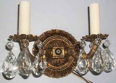1 Pair Vintage of Bronze Double Wall Sconce 2 Seperate Lights with Glass Prisms