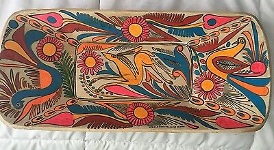 """14"""" Vintage handpainted Mexican folk art wooden bowl dish plate BIRDS Mexico"""