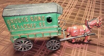 Antique Advertising Cast Iron Brook Bond Tea and Coffee Horse & Buggy Carriage