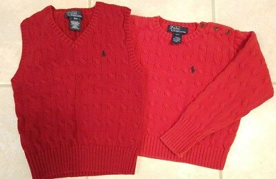 Polo by Ralph Lauren Child's Red Sweater Size 4 & Red Vest Size 3 cable knit boy