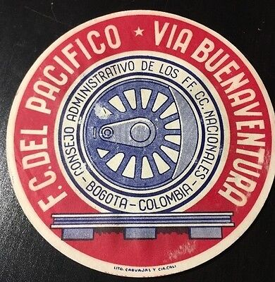 Vintage Luggage Label F.C. Del Pacifico Via Buenaventura Bogota Colombia