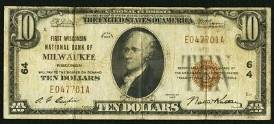 1929 $10 First Wisconsin National Bank of Milwaukee, WI - SN#E047701A Ch. #64