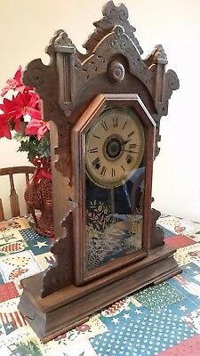 Collectors Antique Seth Thomas Kitchen Mantle Clock #209 Works Great With Key