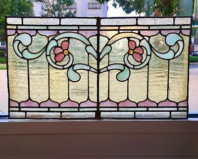 A+ Antique American Floral Geometric Scroll Leaded Stained Jewelled Glass Window