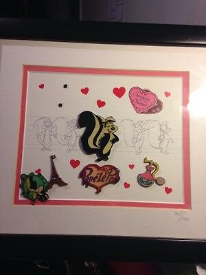 Pepe Le Pew Commemorative Pin And Lithograph Set Warner Brothers Valentine's Day