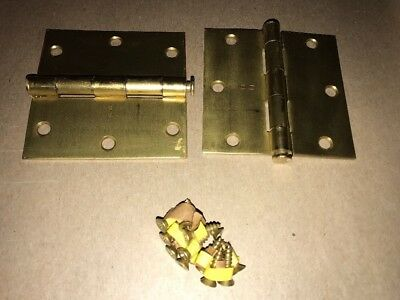VTG 2 Pairs Stanley Brass Plated Steel Butts 3-1/2 x 3-1/2 Door Hinges RD741 USA