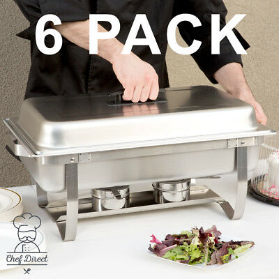 6 Pack Chef Direct - 8 Qt. Full Size Stainless Steel Chafer with folding frame