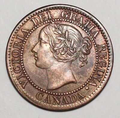 1859 Canada Large Cent - Double Punched Narrow 9 - AU+ - LOW RESERVE!
