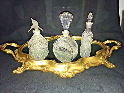 French Louis XV Rococo Style Gold Gilt Vanity Mirror Plateau Tray with Handles