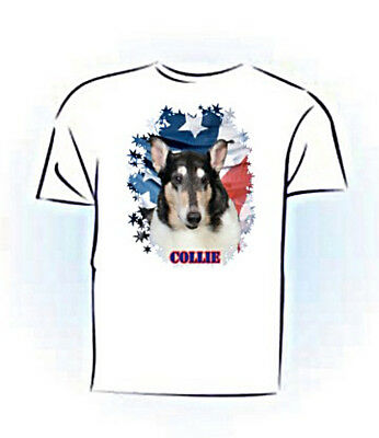 Collie   smooth tri    Stars & Stripes  PERSONALIZED   Pet T shirt