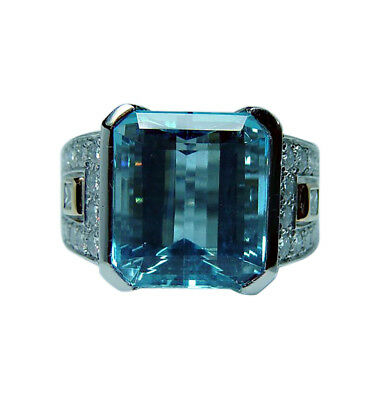 Richard Krementz Platinum Aquamarine Diamond Ring Designer Estate 9.8c GIA cert