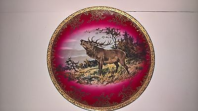 Charger Plate Porcelain Gold Gilt Deer Stag Beautiful Bavaria Germany Hand Paint