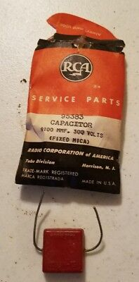 Vtg RCA Service Parts 95383 CAPACITOR 9100 MMF 300 Volts Fixed Mica NewOld Stock