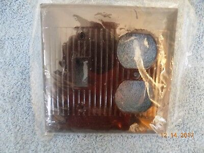 Vintage Bakelite brown Sierra Ribbed Switch & Outlet Dual Plate Cover D18 D-18