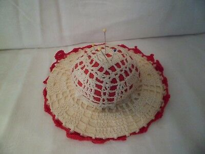 "Vintage Cotton Crocheted Hat Pin Cushion 6"" Off White Red Sewing Needlework"