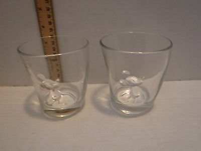 Disney Mickey Mouse 3D Clear Curved Glasses Lot of 2 Unique like ToonTown. Rare