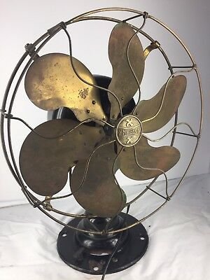 "Vintage Emerson 16666 12"" Six Brass Blade Hinged Oscillator Electric Fan"
