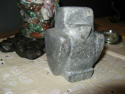 "Inuit Eskimo Soapstone Eagle Hawk Vintage Hand Carved 4"" tall, 944 grams"