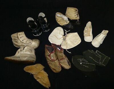 Antique/Vintage Leather Doll Shoes button-up/ Lace/Snap Lot of 8 French German