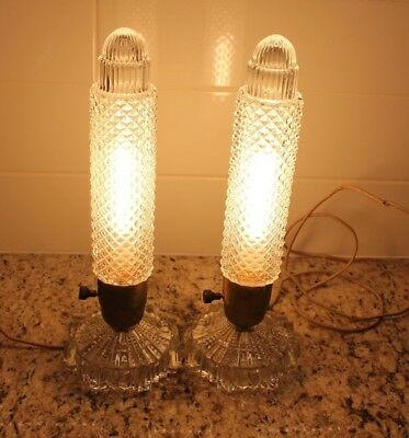 Vintage Art Deco Glass Torpedo Bullet Boudoir Lamp - Set of 2