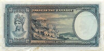 Greece 1000  Drachmai  1.1.1939 P 110a  Series M 097 Circulated Banknote LMSat