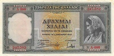 Greece 1000  Drachmai  1.1.1939 P 110a  Series A 086 Circulated Banknote LMSat