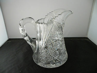 Antique heavily cut crystal pitcher, very heavy and large, great detail
