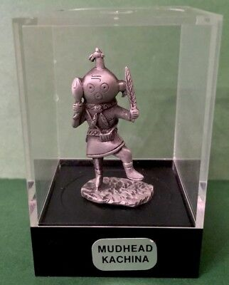 Miniature pewter Hopi MUDHEAD KACHINA in collectors case