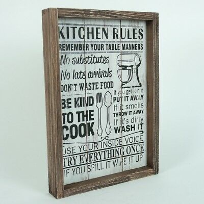 Kitchen Rules Hanging Sign Plaque Home Wall Decor Brown Natural