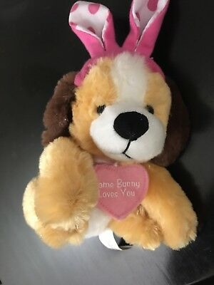 """Cute valentines stuffed puppy """"be mine"""" with bunny ears 🐰 about 10 inches"""