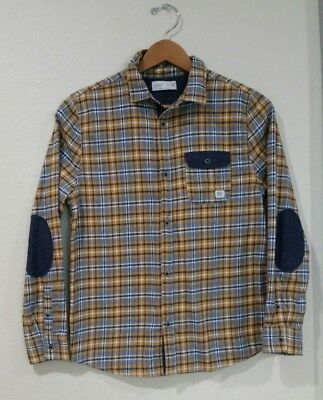 NWOT ZARA BOYS Button Down Shirt Long Sleeve Boys Collection Fleece Size 13/14