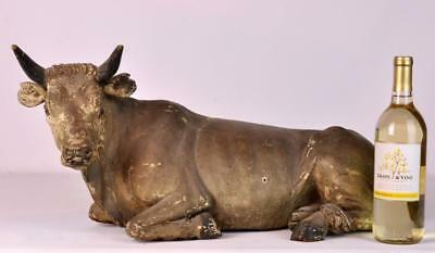 Large Italian 18/19th C. Carved Wood Cow Lot 50