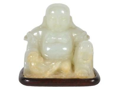 Small Chinese Carved Jade Buddha on Wood Base Lot 299