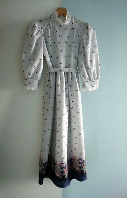 Vintage Floral Girl Retro Lovely Dress Made In England 60S 140Cm 10Y Rare